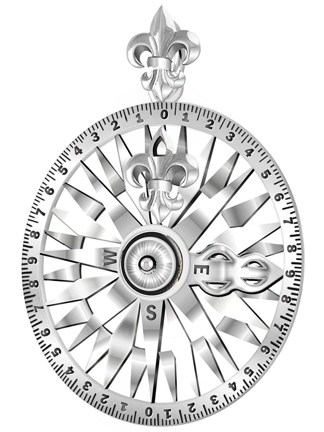 Sterling Silver Nautical Pirate Compass Necklace - DeluxeAdultCostumes.com