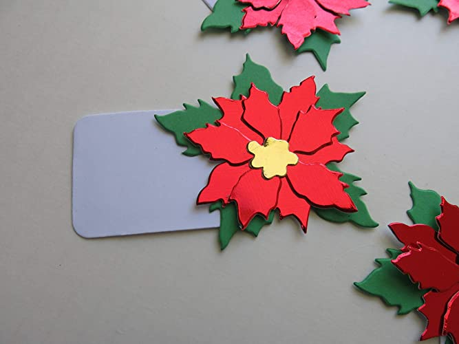Amazon Red Foil Poinsettia Tag Style Place Cards 8 Christmas