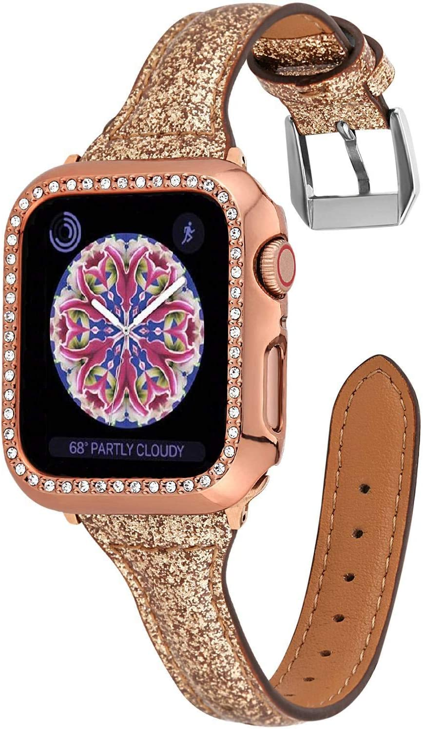Greaciary Bling Thin Band Compatible with Apple Watch 38mm 40mm 42mm 44mm,Shiny Glitter Soft Slim Narrow Replacement Strap Compatible for iWatch Series 5/4/3/2/1,Sport Edition Women,Rose Gold