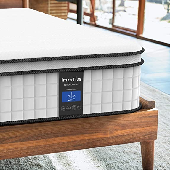 Inofia Queen Mattress,10 Inch Cool Memory Foam Innerspring Hybrid Mattre