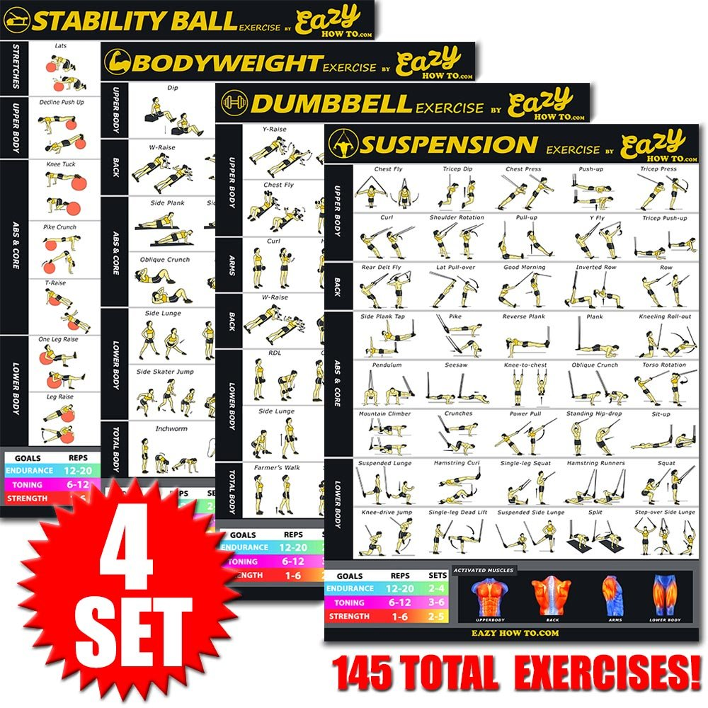 Eazy How To 4 Pack Bundle Exercise Workout Poster BIG 28 x 20'' Train Endurance, Tone, Build Strength & Muscle Home Gym Chart - Standard