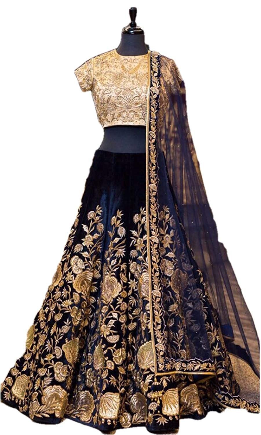 515b14a38c Amazon.com: REKHA Ethinc Shop Traditional Bridal Wedding Lehenga Choli Navy  Blue Color with Net Duptta A349: Clothing