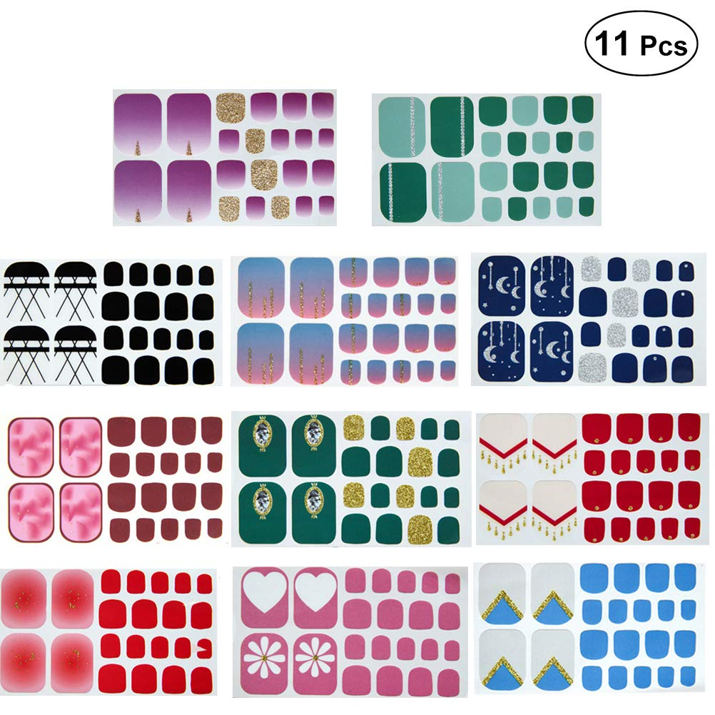 Frcolor Full Cover Toe Nail Art Glitter Fresh Style Toenail Sticker Sparkling Foot Decal 11pcs