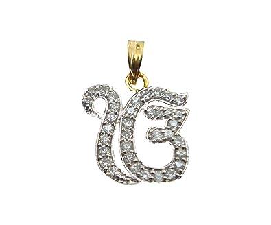 Buy vama collections one gram gold plated ek onkar pendant with vama collections one gram gold plated ek onkar pendant with cubic zirconia diamond for men women aloadofball Images