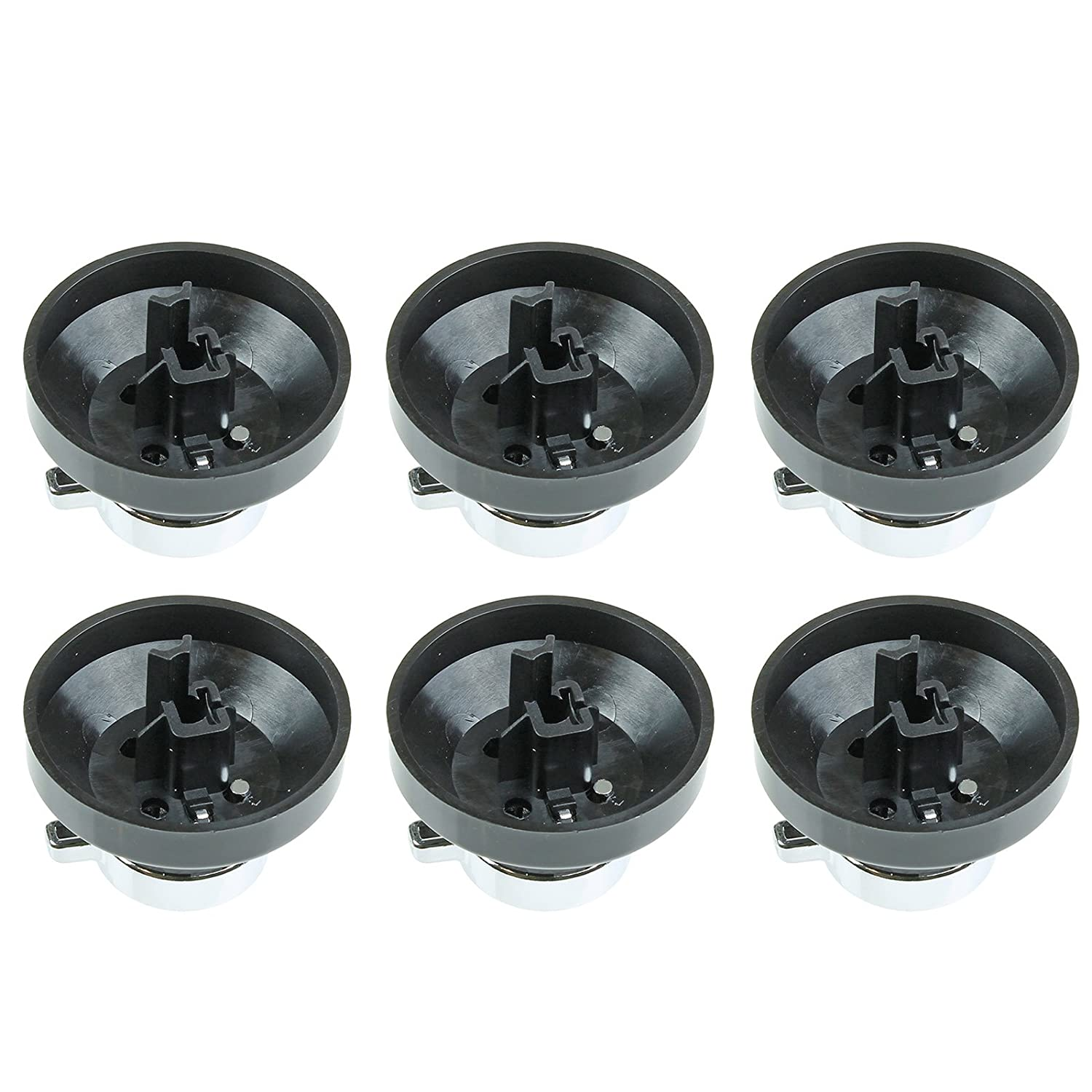 Stoves Gas Hob Oven Cooker Knobs Flame Control Switch Pack of 6, Black//Silver