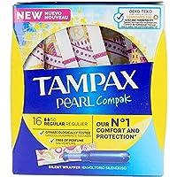 Tampax Pearl Compak Pearl Regular stempelkussen met applicator, biedt comfort, bescherming en discretie, 128 stuks