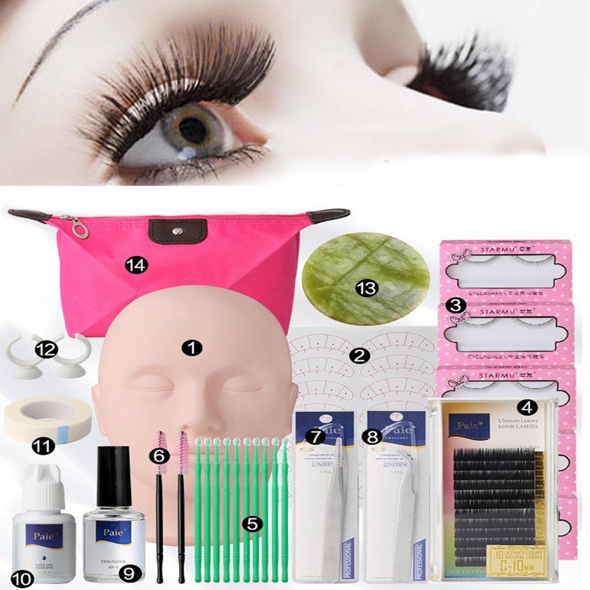 e8d51fe46bf Amazon.com : Careshine Eyelash Extension Kits Set False Lashes Tool Flat  Head Curl Glue With Bag For Makeup practice tools : Beauty