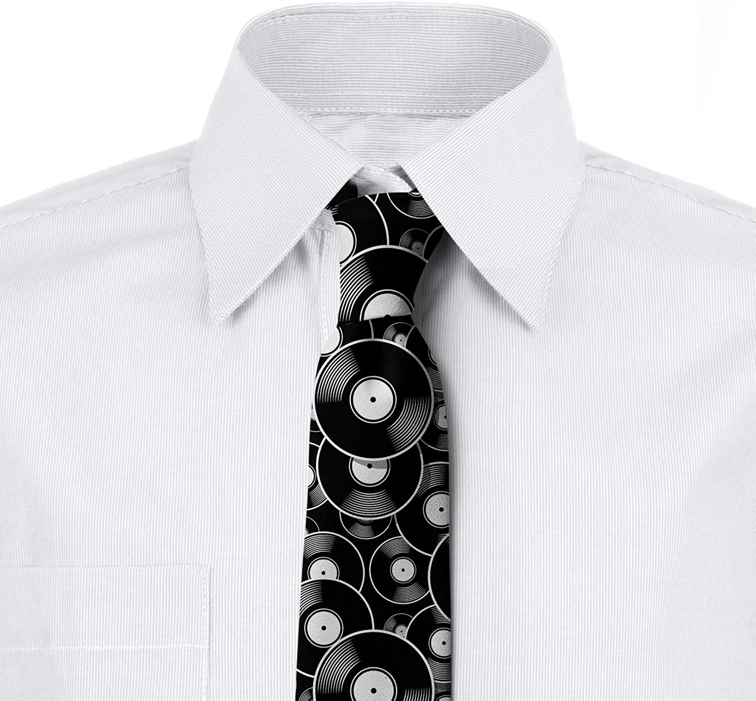 Charcoal Grey White Ambesonne Necktie 3.7 Old Time Records Music Discs