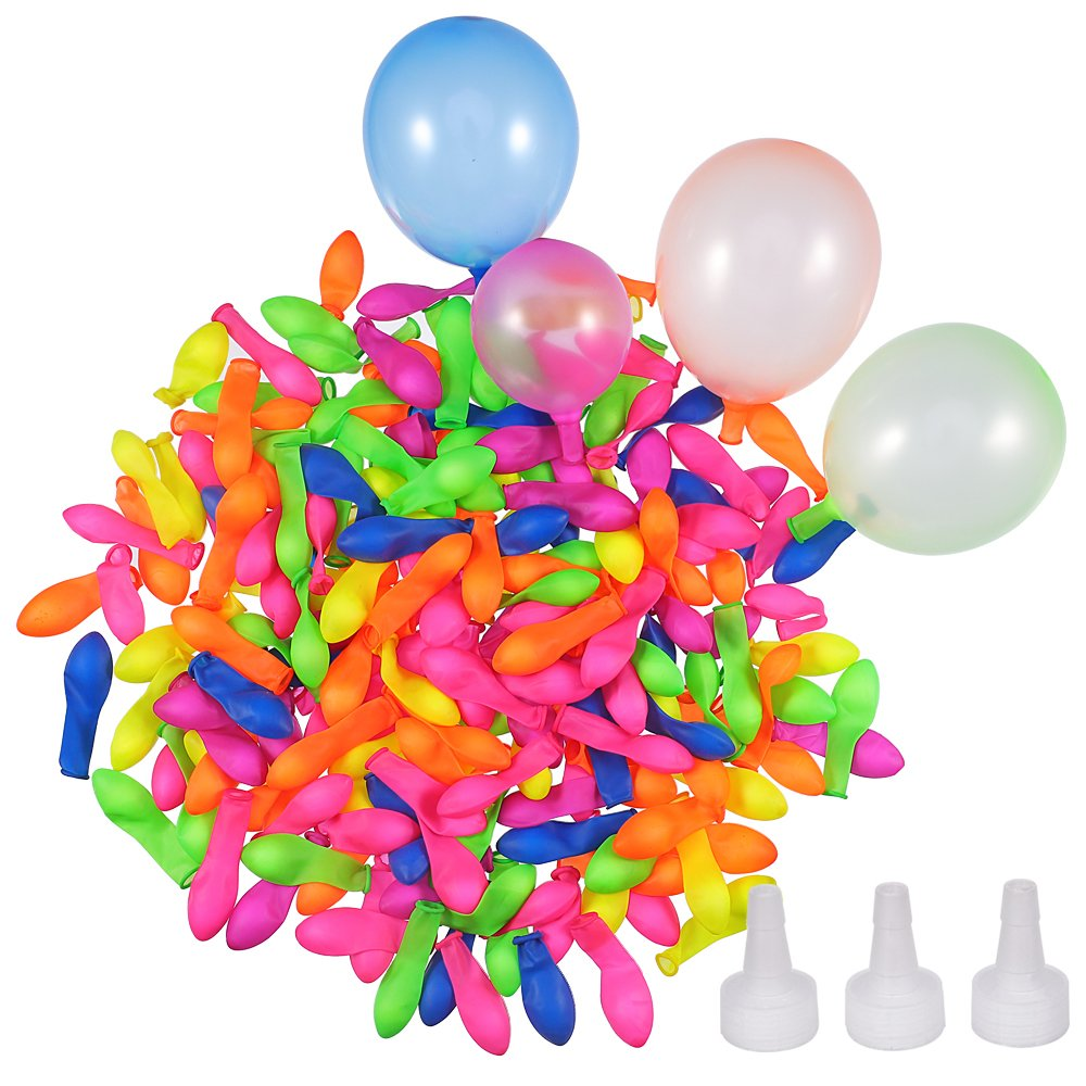 Hautoco 1000 Pieces Water Balloons Self-sealing with 3 Hose Nozzle for Summer Water Balloon Fight Party