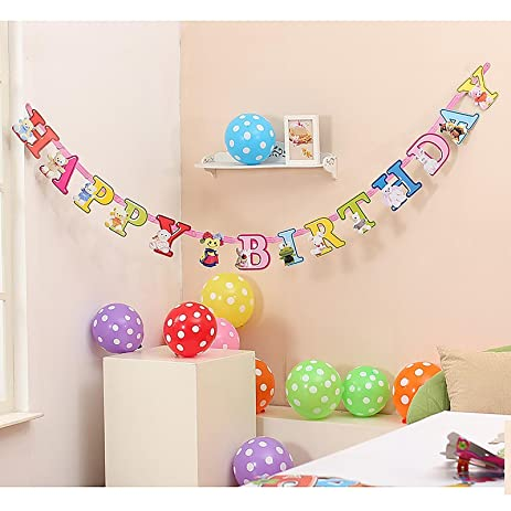 Amazon hua yang 5 patterns happy birthday letters banner hua yang 5 patterns happy birthday letters banner hanging paper baby shower celebration bear spiritdancerdesigns Image collections