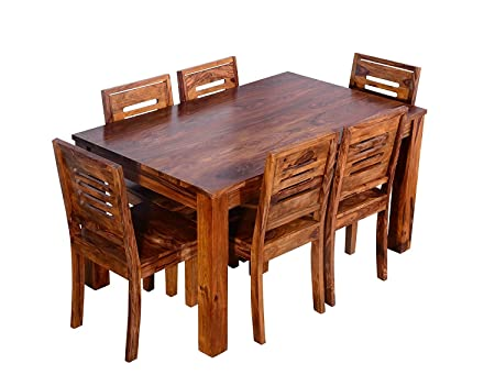 JS Home Decor Sheesham Wood Dining Table Teak Finish with 6 Chairs (Brown)