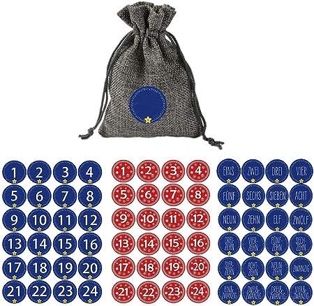 Atack-B 24 Bolsas De Calendario De Adviento para Completar 2019 con 1-24 Pegatinas Digitales, Calendario De Cuenta Regresiva, Bolsa, Bolsa con Cordón, 3 Pegatinas De Calendario (2)