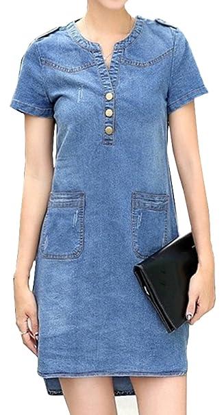 Scothen Damen Sommer Jeanskleid Blusenkleid Minikleid Rundhals