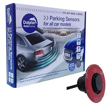 Dolphin DFM400 Reverse Parking Sensors Flush Mount OEM Style 4 Ultrasonic  Radar Sensor Kit Audio & Display Option - Gloss Black (Audio Alerts)