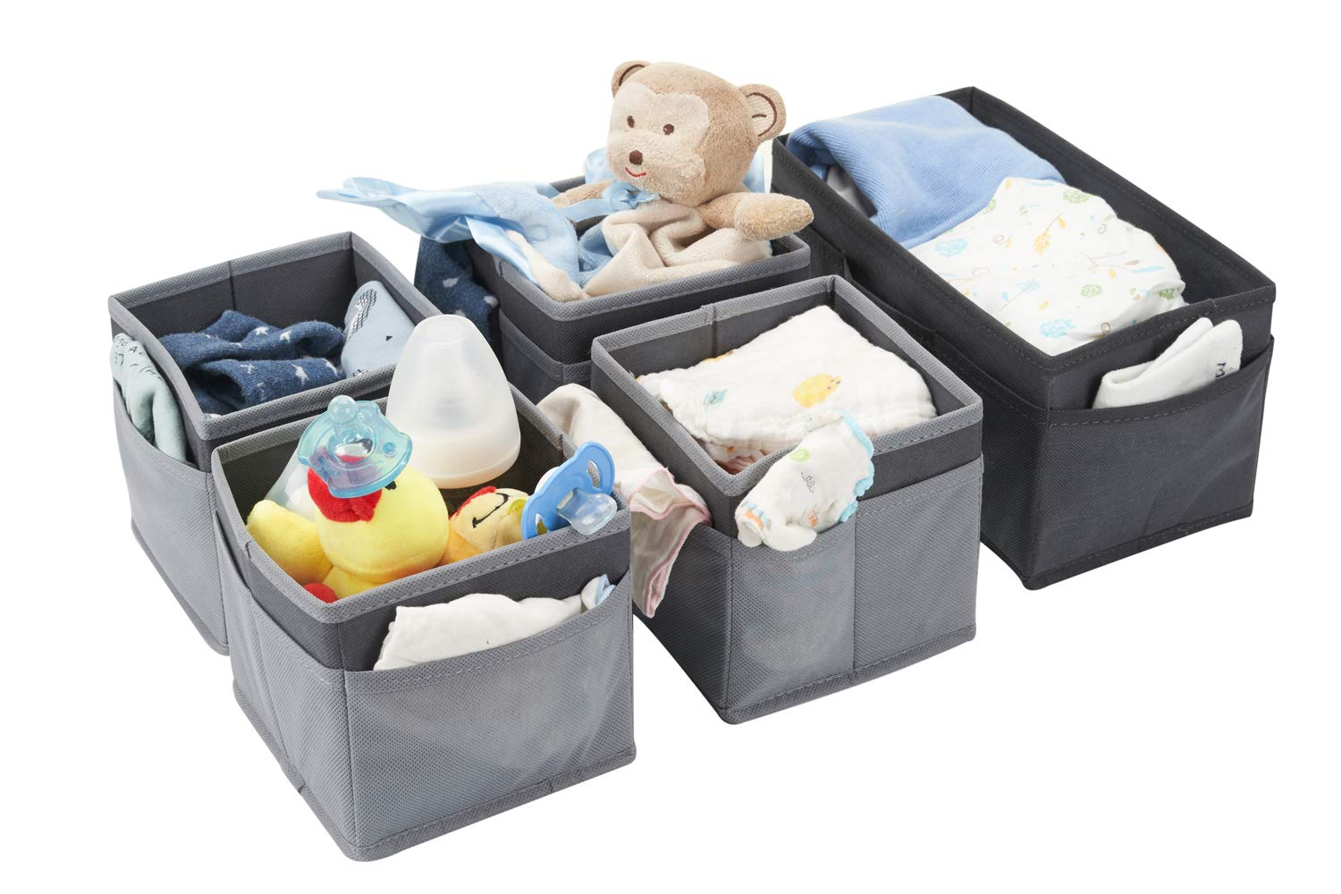 Miya-J Set of 5 Nappy Caddies,Large Storage Box and Four Box With Two Layer Compartments for Nappy Changing,Socks,Clothes,Wipes,Bibs Accessories etc