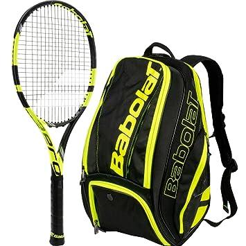 Babolat Pure Aero vs amarillo/negro adulto con un pura línea de ping pong raqueta de tenis bolsa o mochila, Tennis Backpack, Yellow/Black: Amazon.es: ...