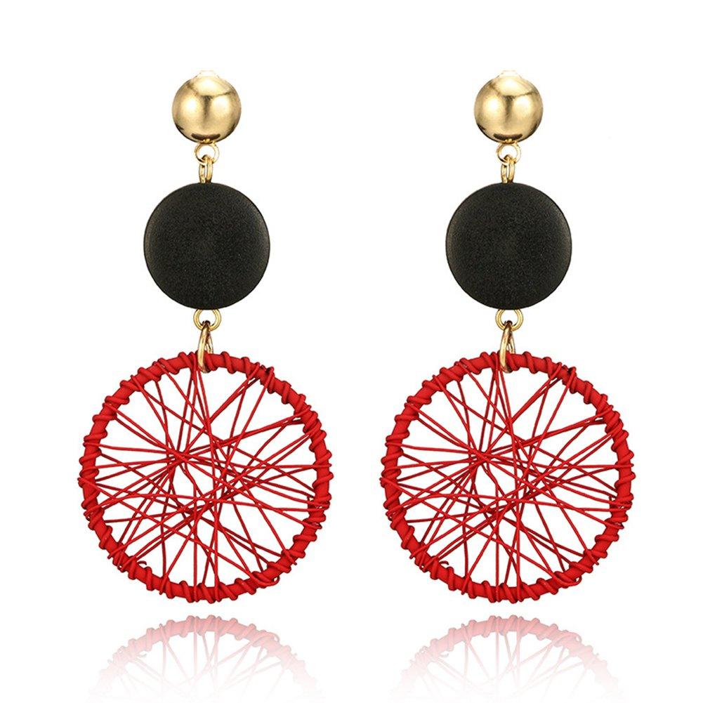 Wintefei Party Club Hollow Ferris Wheel Pendant Stud Earrings Statement Women Jewelry - Red
