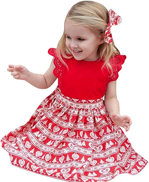 Christmas Sister Matching Clothes Romper Dress Headband Baby Girls Outfits Sets