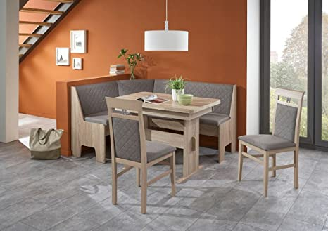 Eckbankgruppe \'Kameli III\' Essgruppe 165 x 125 x 86 2 Stühle modern Eckbank  Küchentisch Wangentisch4-teilig Küche Polsterung grau-braun Buche massiv ...