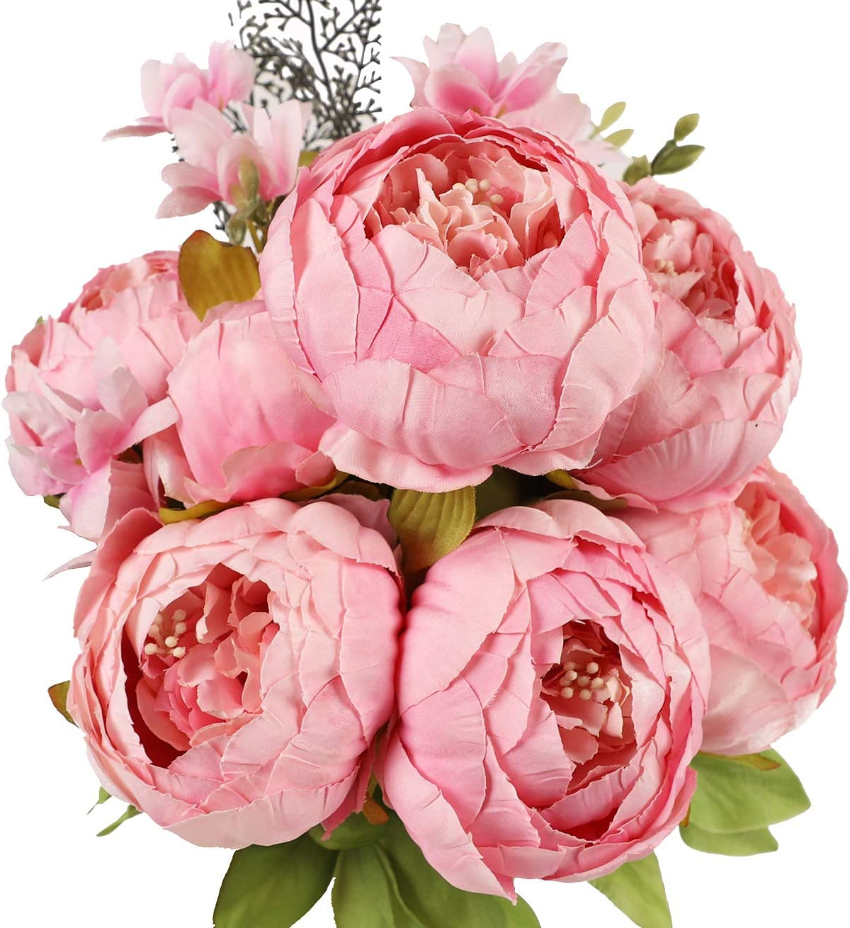 JyiHope Artificial Peony Silk Flowers Fake Peonies Vintage Bouquet Home Table Centerpieces Wedding Decoration (Spring Light Pink)