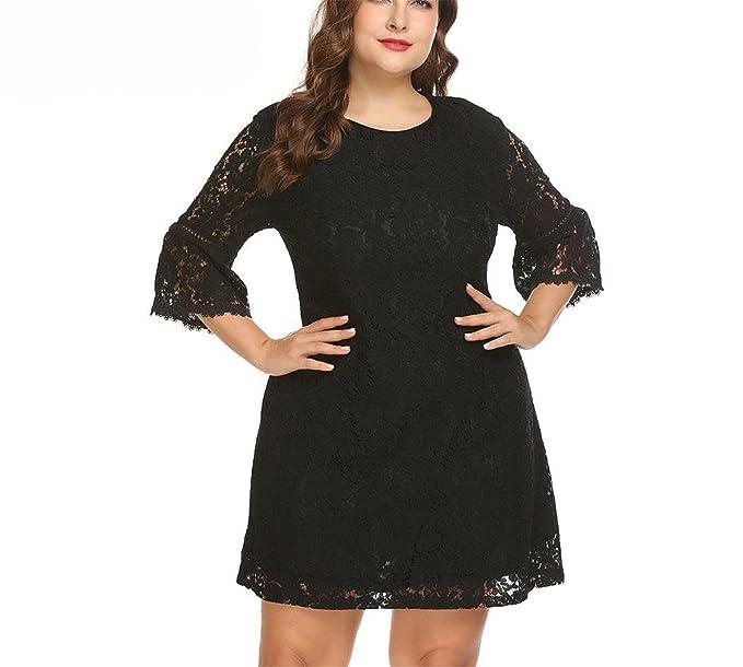 947e371531 Frozac Plus Size Women Lace Dress XL-5XL Plus Size 3 4 Flare Sleeve ...