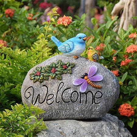 Adornos de jardín y estatuas Flor de Ave Letrero de Bienvenida Accesorios de jardín Resina Esculturas de Animales Decorativos for el hogar Oficina Patio Exterior Patios Villa: Amazon.es: Hogar