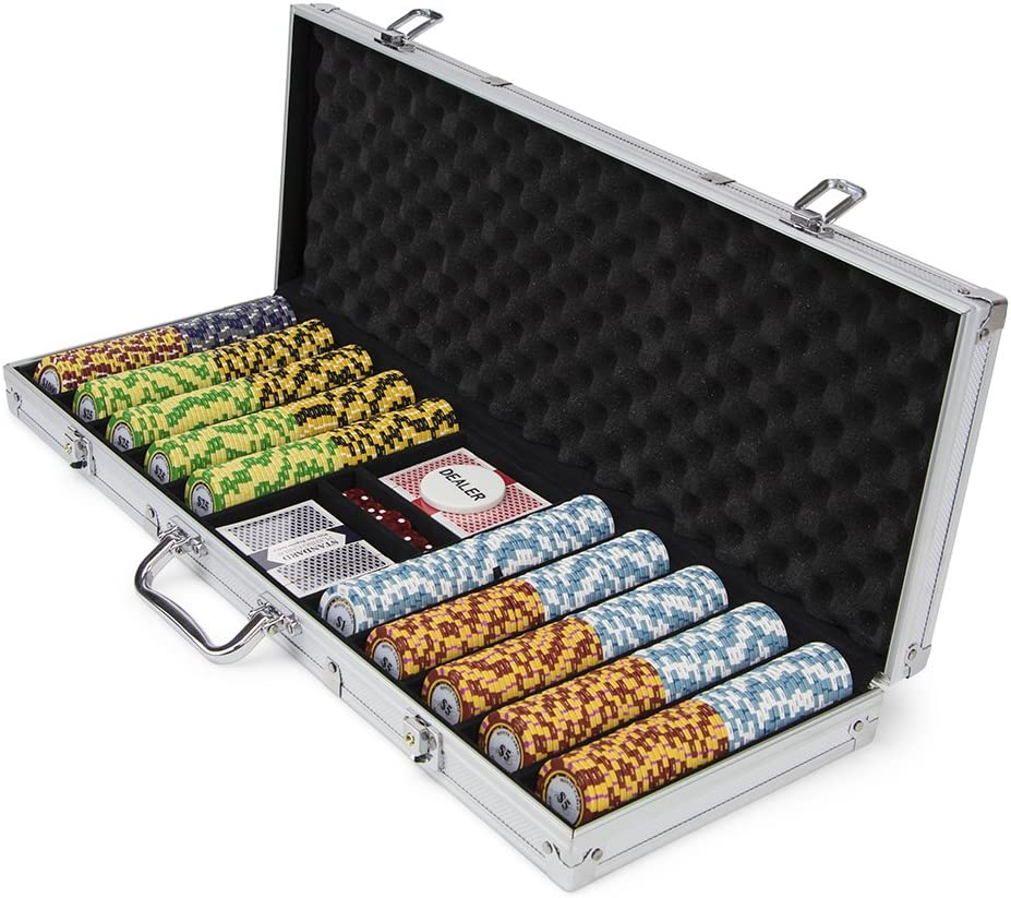 Set of 500 Monte Carlo 3-Tone 14 Gram Poker Chips with Aluminum Case by Brybelly by Brybelly