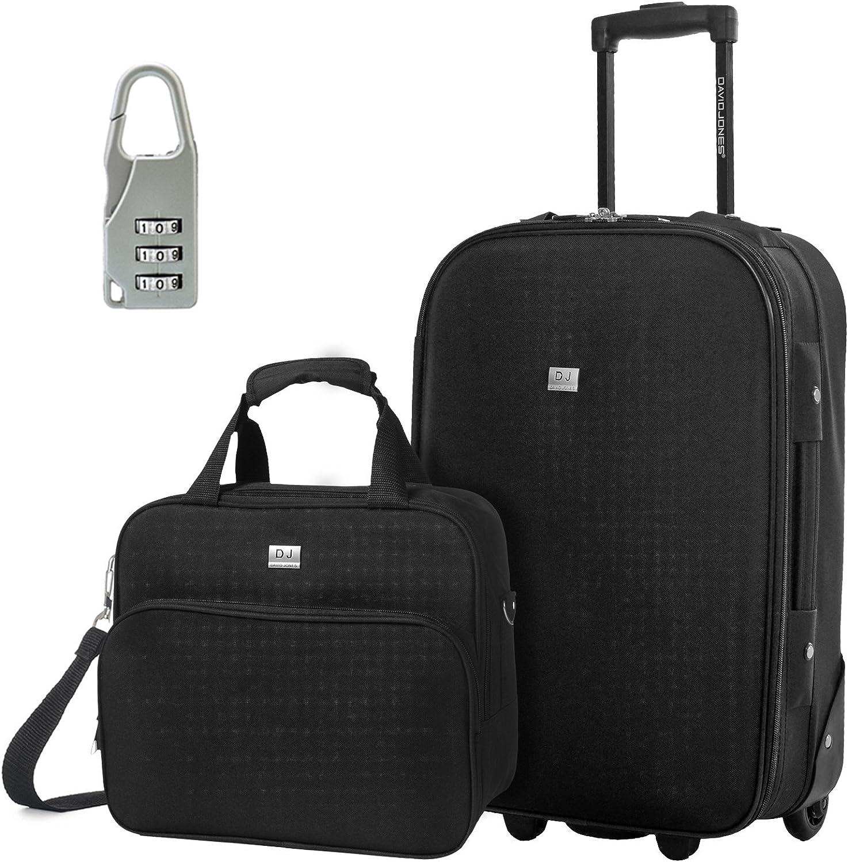 DAVIDJONES Upright Carry-on Travel case Luggage Set, 2 Piece – BLACK BA-1002-2RPV-BLACK