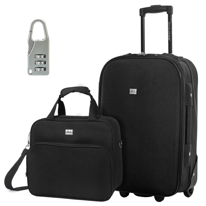 DAVIDJONES Upright Carry-on & Travel case Luggage Set, 2 Piece - BLACK (BA-1002-2RPV-BLACK)