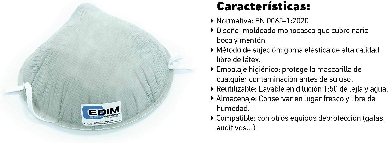 Oedim Pack de 10 Mascarillas Higiénicas y Reutilizables. Protección al 98,34% antibacterias. Protección según Norma EN 0065:2020 y UNE EN 14683:2019