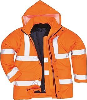 Orange//Navy Small Portwest US467ONRS Regular Fit Hi-Vis Two Tone Traffic Jacket
