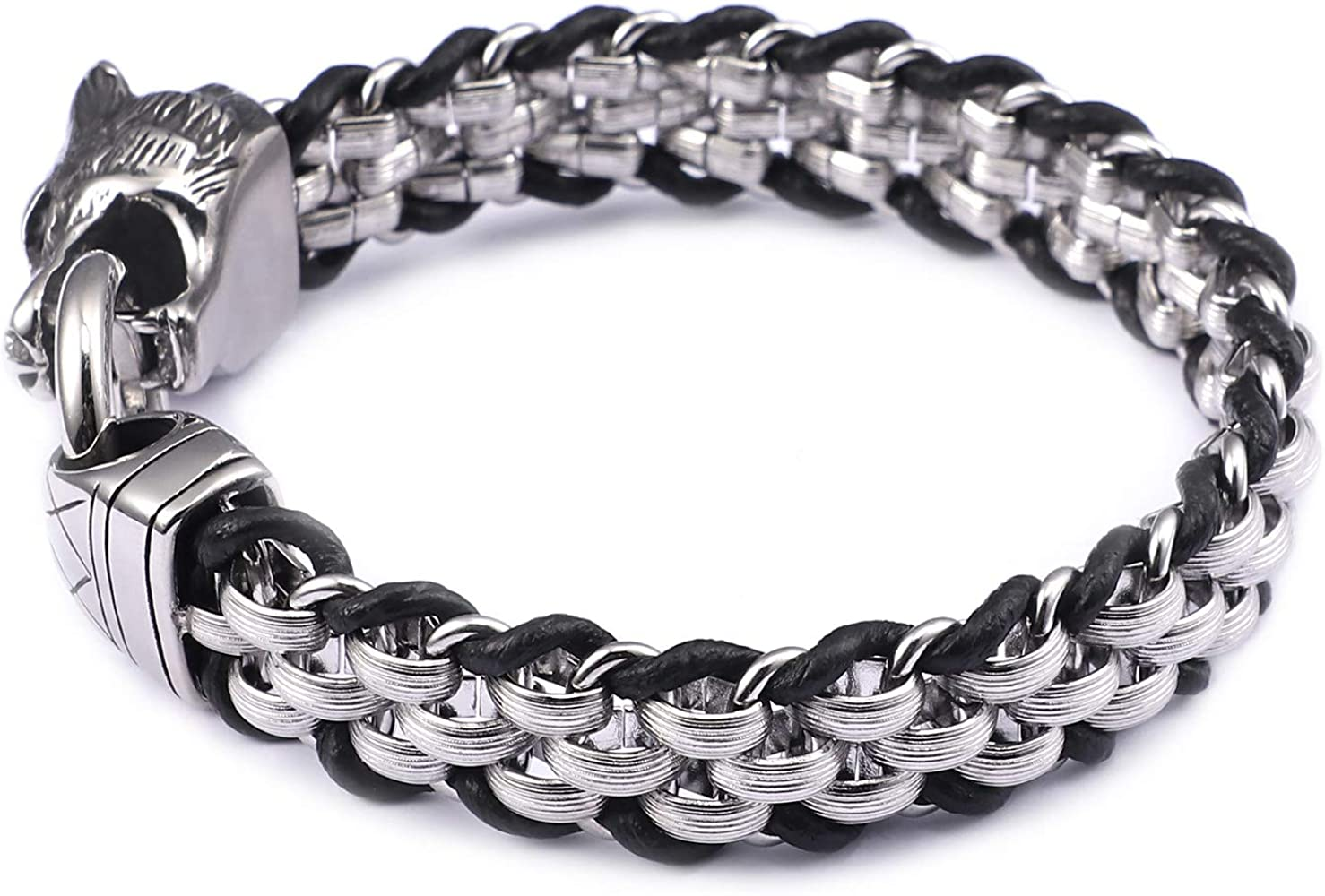 Mens Elastic Punk Stainless Steel Inlaid Leather Wolf  Open Cuff Bangle Bracelet