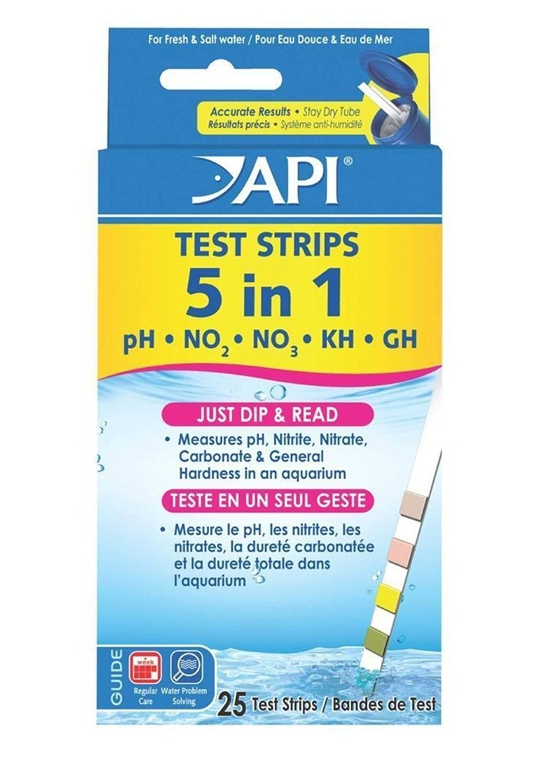 GVGs Shop 25 Ct. 5 in 1 Aquarium Tester Strips Saltwater Check Easy to Read Accurate Results Extreme Popular Water Kits with Color Chart by GVGs Shop (Image #1)