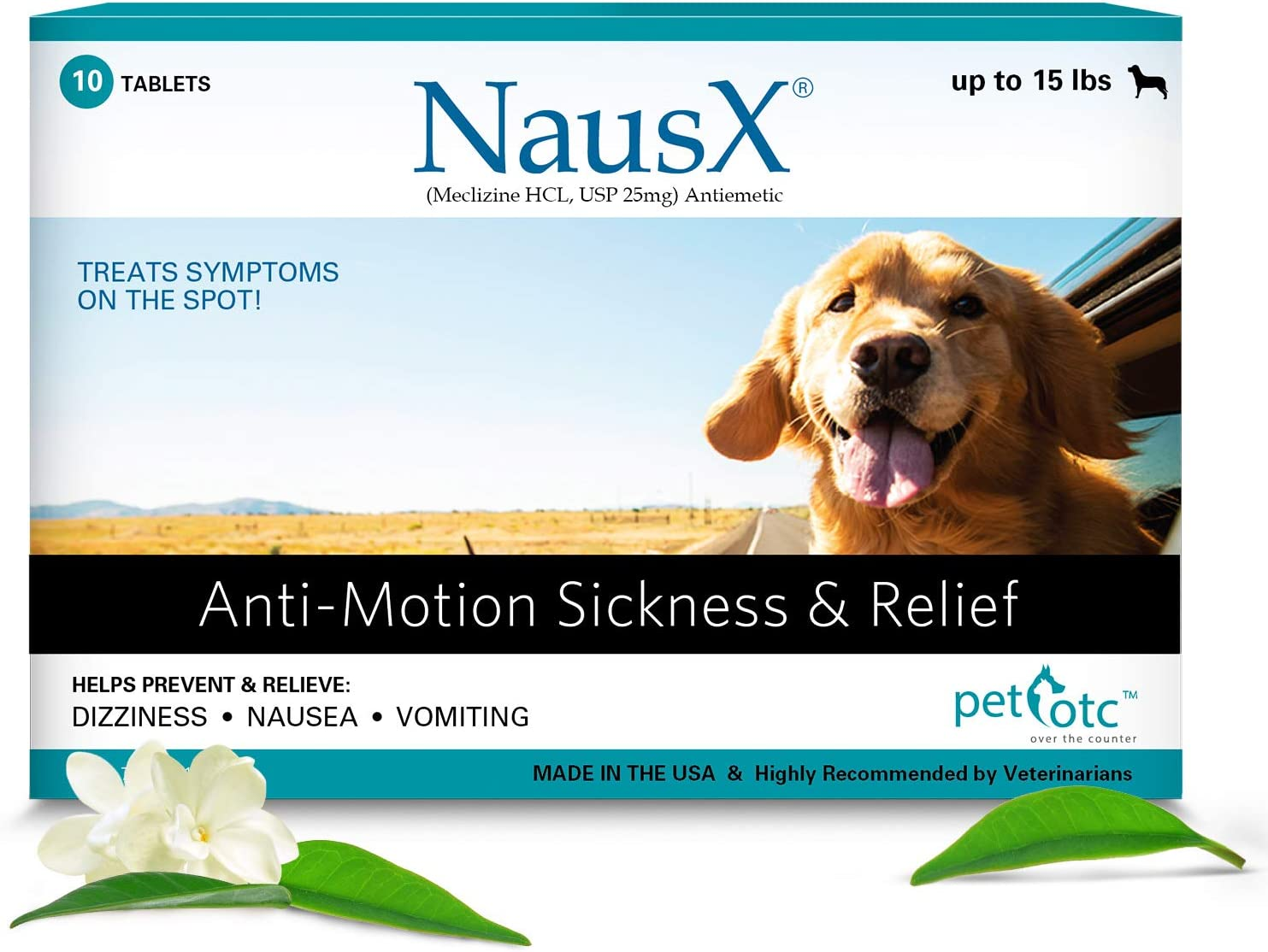 Nausx (Up to 15lbs Anti Nausea/Motion Sickness Treatment and Preventative for Dogs