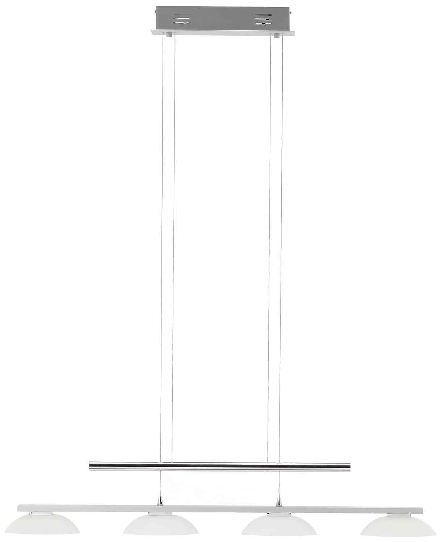 Trio-Leuchten LED-Jojo-Pendelleuchte Aluminium gebürstet/chrom, Glas weiß satiniert, inklusiv 4x 5W LED, Breite: 90 cm, Höhe: 100-160 cm 321010405