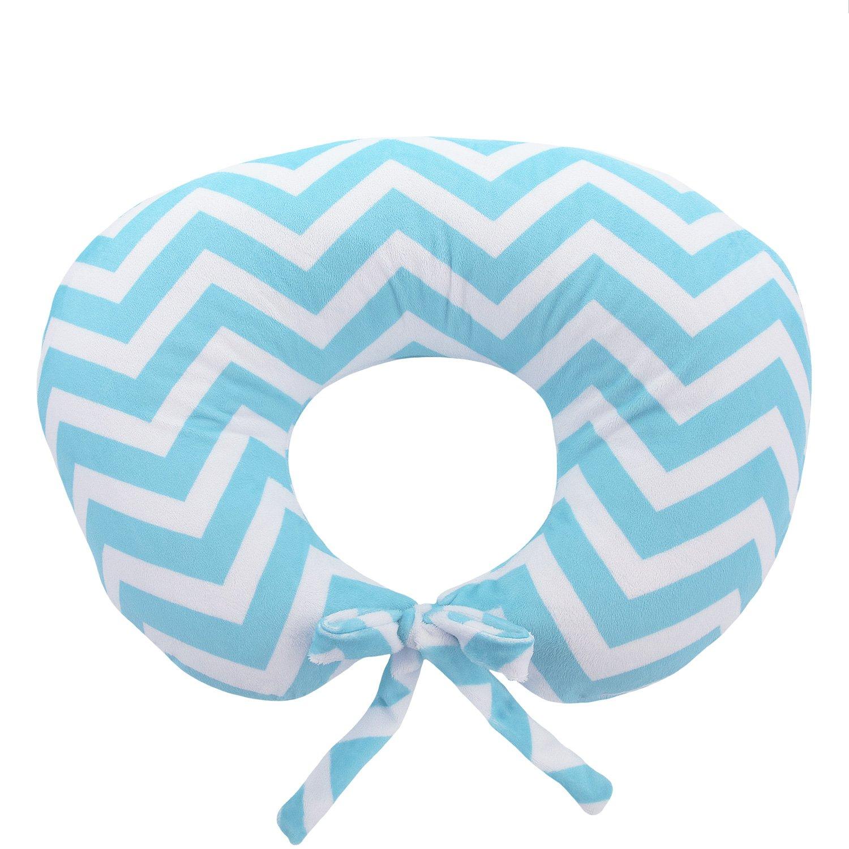 My Blankee Nursing Pillow with Chevron Minky Slipcover, Aqua, Small/Medium