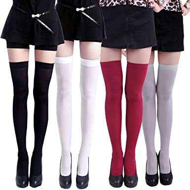 677ca30e9 HDE Thigh High Stockings Sheer Over Knee High Socks for Women Pantyhose - 4  Pair