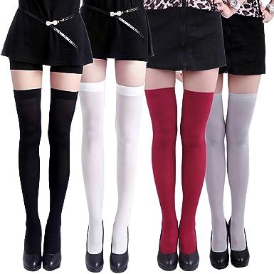 fe1e7dfd2bab8 HDE Thigh High Stockings Sheer Over Knee High Socks for Women Pantyhose - 4  Pair