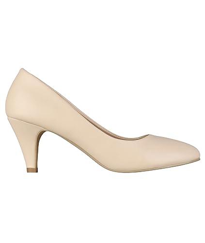 52ea2660193c Women Low Kitten Heel Slip On Pointed Toe Court Shoes  Amazon.co.uk ...