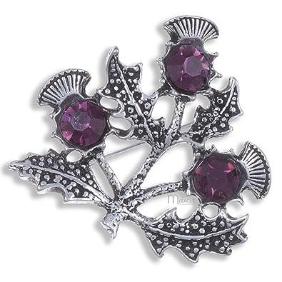 Pewter Purple Amethyst Crystal Triple Scottish Thistle Brooch XcQBF