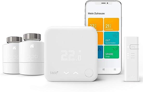 tado/° Smart Radiator Thermostat Starter Kit V3 - Intelligent heating control Apple HomeKit works with  Alexa horizontal mounting IFTTT Google Assistant