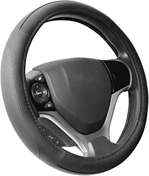 Valleycomfy 14.25 inch Auto Car Black Steering Wheel Covers Genuine Leather for Prius Civic