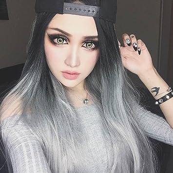 Zi Ling Shop U Typ Perücken Langes Haar Schwarz Grau Grau Haar