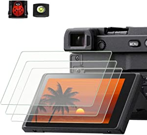 PCTC Tempered Glass LCD Screen Protector Compatible for Sony alpha A6600 A6100 A6400 A6000 A6300 A5000 Nex-7 NEX-6 NEX-5 NEX-6 NEX-6L NEX-3N (3 Pack) , 2* Hot Shoe Cap Cover ( Ladybug & Spirit level ) + 1* Macro SD / TF Card Adater