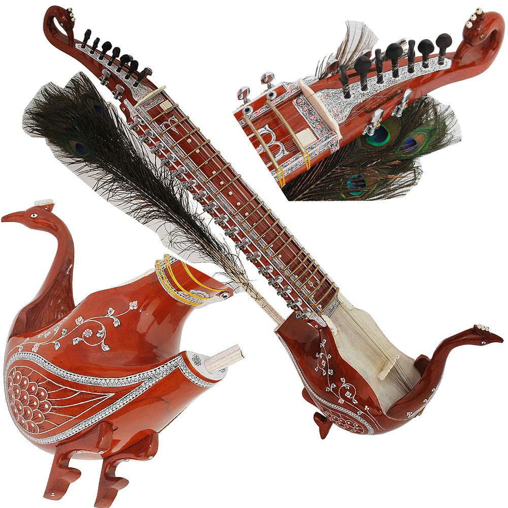 Taus Hand Made Indian, 4 Main String, 17 Sympathetic String, Tun Wood, Beautiful Craft Work, Sweet Sound, Natural Wood Colour, With Bow, Extra String & Rosin For Bhajan, Kirtan, Raaga, Beginner Qu