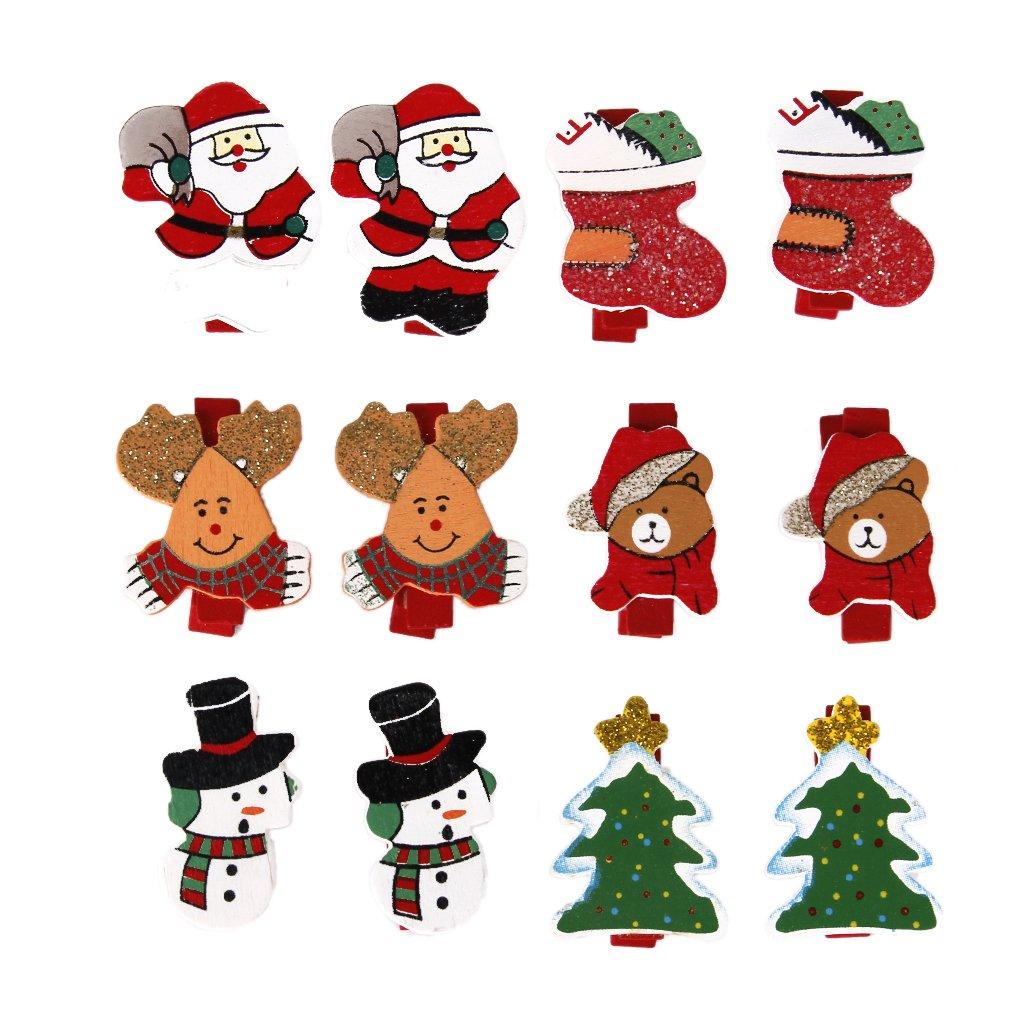 12pcs Pinzas de Madera lindos con Dibujos de Navidad: Amazon.es ...