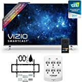 "Vizio P55-C1 SmartCast 55"" UHD HDR Home Theater Display TV w/ Slim Wall Mount Bundle includes TV, Wall Mount, and 6 Outlet Wall Tap w/ 2 USB Ports"