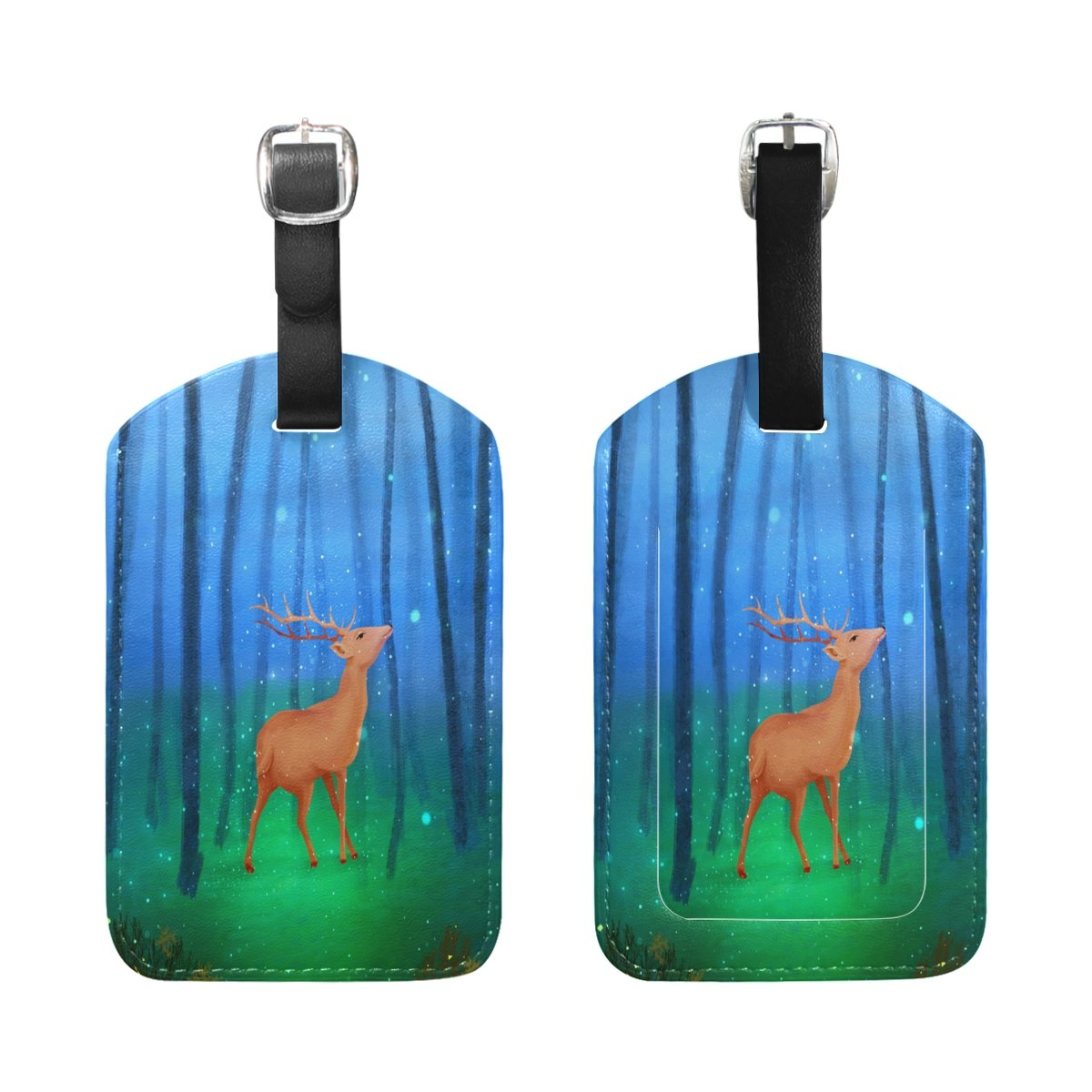 1Pcs Saobao Travel Luggage Tag Elk And Forest PU Leather Baggage Suitcase Travel ID Bag Tag