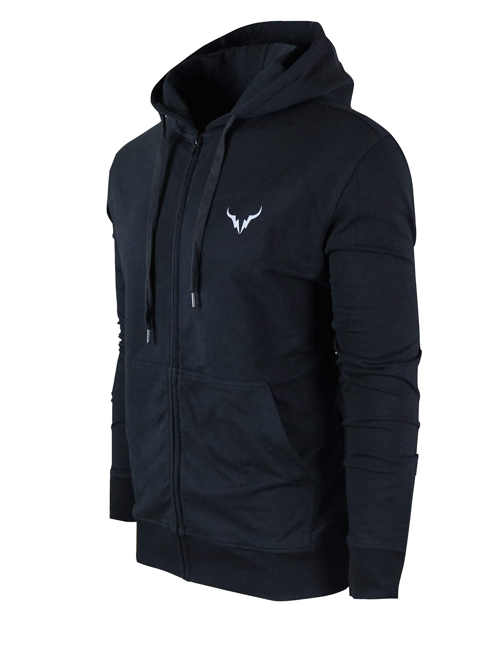 SCREENSHOT SPORTS-F11950 Mens Premium Athletic Zip-up Jacket - Running Fitness Jogger Workout Gym Sweatshirt-Black-Medium by SCREENSHOT