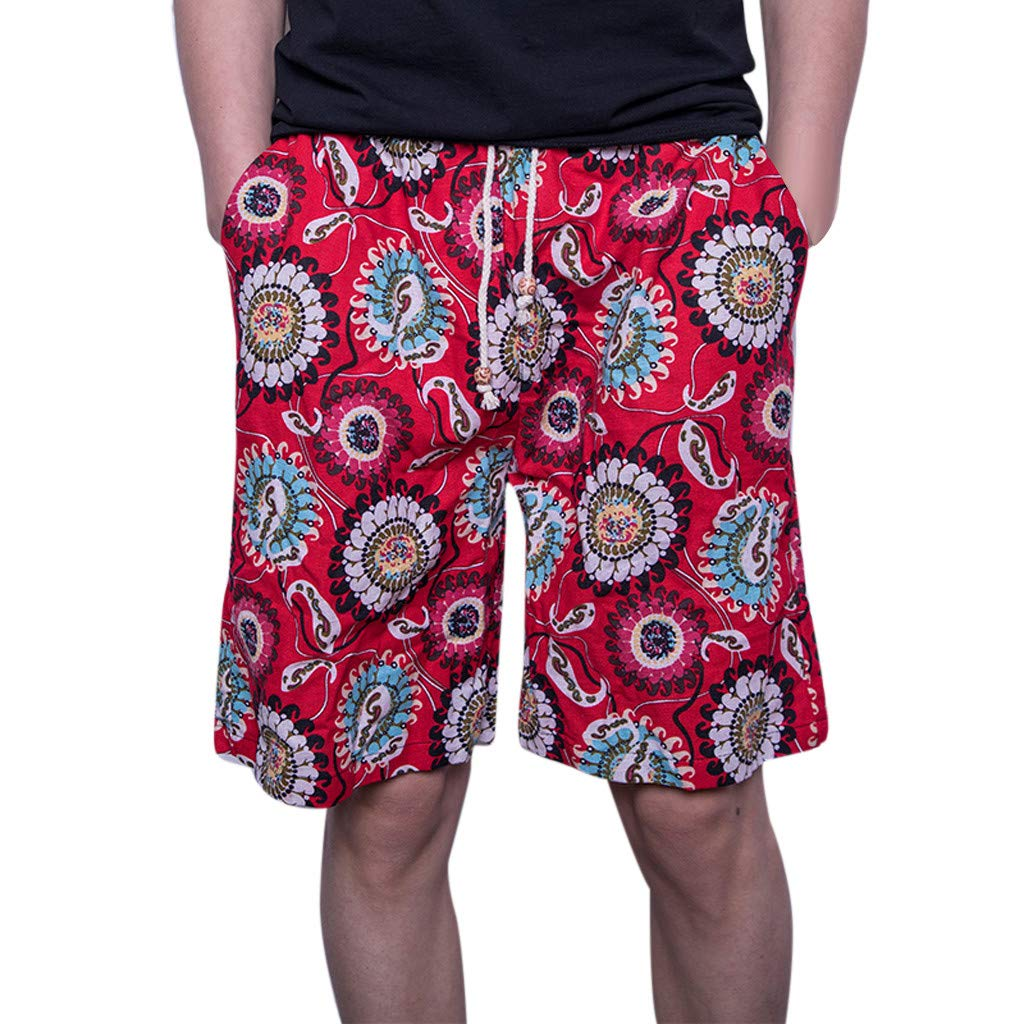 Slim Pants Men Jeans,Men's New Summer Fashion Casual Color Collision Loose Beach Sport Shorts Pant,Red,L